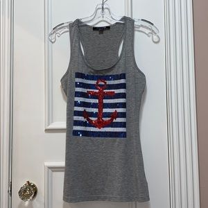 NWOT Tank top with sequin anchor